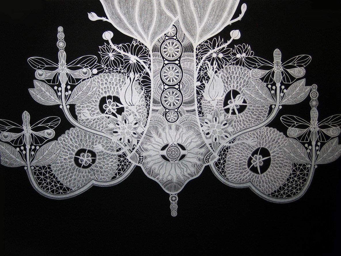 Chandelier 1 drawings silver on black series silver metallic chandelier 1 drawings silver on black series silver metallic ink on black paper 2009 mary omalley artist arubaitofo Gallery